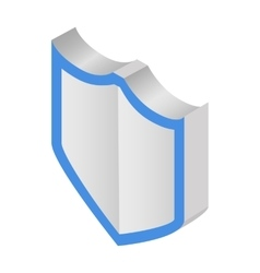 Silver shield isometric 3d icon vector image