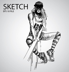 Sketched girls vector image
