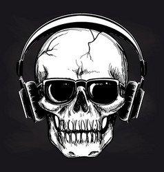 Skull and headphones sketch on blackboard vector