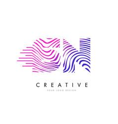 Sn s n zebra lines letter logo design with vector