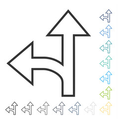 Split direction left forward icon vector
