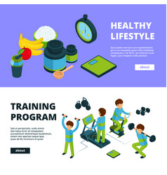 sport banners isometric health exercises fitness vector image