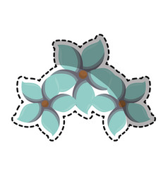 Sticker of multicolored set collection blue flower vector