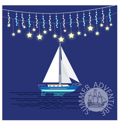 Summer adventures travelling yacht with garlands vector