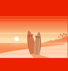 Surf boards on a beach scene vector