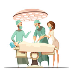 surgery in cartoon retro style vector image