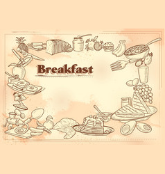 template different types breakfast item for vector image