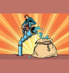 The financier sitting on cash tube vector