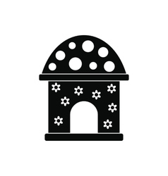 Toy house black simple icon vector image