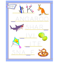 Tracing letter k for study english alphabet vector