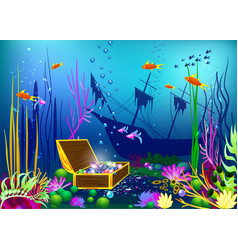 undersea with sunk ship and vector image