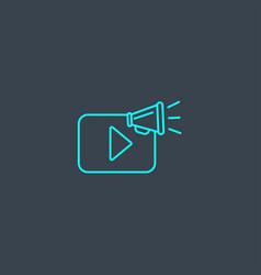 Video promotion concept blue line icon simple vector