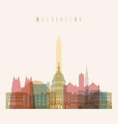 Washington dc skyline multicolor poster vector