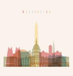 washington dc skyline multicolor poster vector image