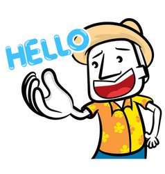 White man cartoon character say hello vector