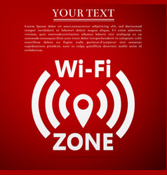 wi-fi network flat icon on red background vector image vector image