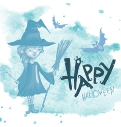 Witch Girl With Bat And Broom vector