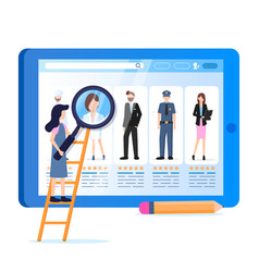 woman hold magnifier various occupation avatar vector image