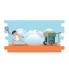 Woman training tennis with throws balls machine vector