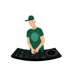 Young male dj in green cap and t-short holds hands vector