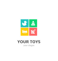 your toys icons flat style logo design vector image
