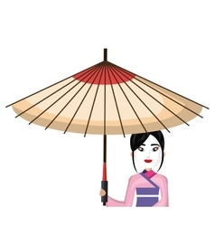 Beautiful geisha japan character with umbrella vector