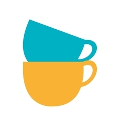 blue and yellow cups set graphic vector image