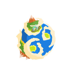 earth planet with mountain and buildings cartoon vector image
