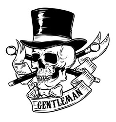 gentleman skull in vintage hat design element for vector image