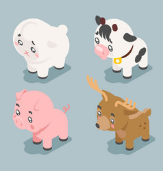 isometric 3d cute baby animals cartoon cubs flat vector image