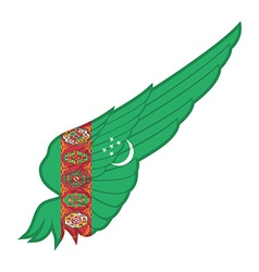 The Turkmenistan Flag on Abstract wing with white vector image vector image