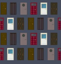 Flat building exterior elements seamless pattern vector