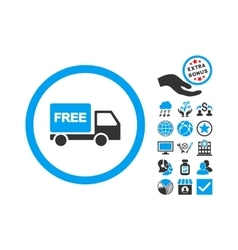 Free Delivery Flat Icon With Bonus vector image vector image