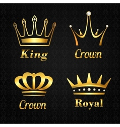 Golden crown labels set vector image