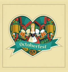 pretty bavarian girl with beer oktoberfest label vector image vector image