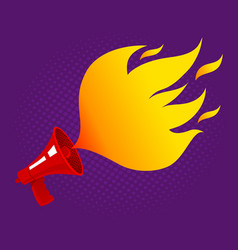 retro megaphone with fire vector image vector image