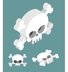 Skull isometric set Head of skeleton and vector image