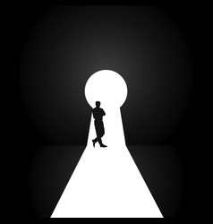 Keyhole with man pose silhouette vector