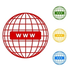 Global communication Set of line icons vector image