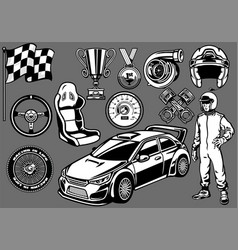 set of rally car racing elements vector image vector image