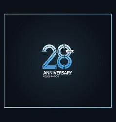 28 years anniversary logotype with cross hatch vector