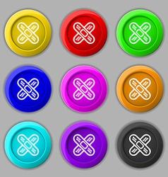 adhesive plaster icon sign symbol on nine round vector image