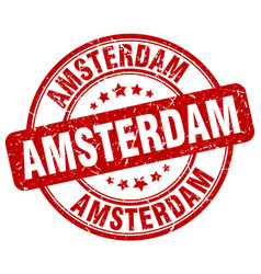 amsterdam red grunge round vintage rubber stamp vector image