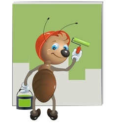 Ant painter paints the wall vector image