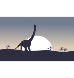 Argentinosaurus on the hill scenery silhouettes vector