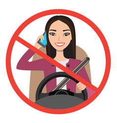 Asian woman driving a car talking on the phone vector