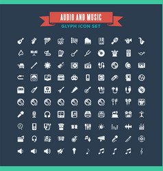 audio and instrument music glyph icon set vector image