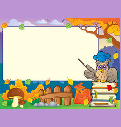 Autumn frame with owl teacher 1 vector