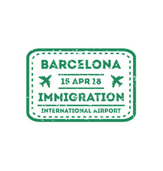barcelona city visa stamp on passport vector image
