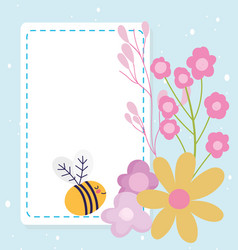 Bashower bee flowers decoration announce vector